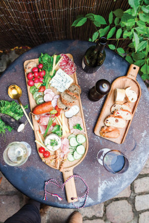 Large designer wooden trays to artfully arrange appetizers